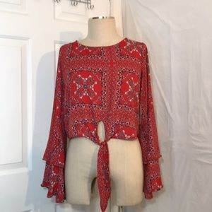 NWT Alt'D State Small Red Bell Sleeve Boho Blouse